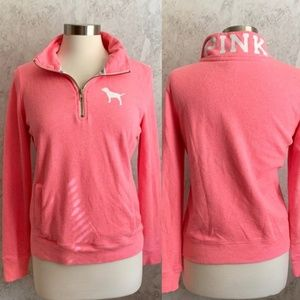 VS Pink Quarter Zip Spell Out Collar Jacket S